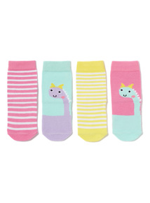 4 Pack Multicoloured Dinosaur Socks (0-24 months)