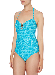 Turquoise Animal Print Bandeau Swimsuit