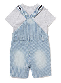Multicoloured Denim Bibshort Set (0-24 months)