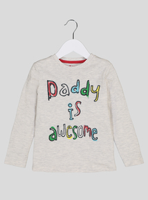 Cream 'Daddy Is Awesome' T-Shirt (9 months-6 years)