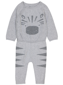 Grey Knitted Long Sleeve  2 Piece Set (Newborn - 12 months)