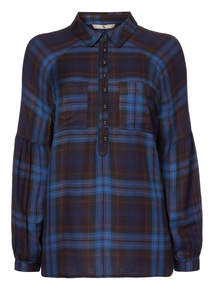 Sleeve Detail Check Shirt