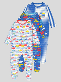 Multicoloured Transport Themed Long Sleeve Sleepsuits 3 Pack (Newborn-24 months)