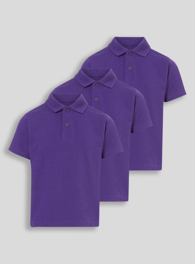 Unisex Purple Polo Shirts 3 Pack (3-12 years)