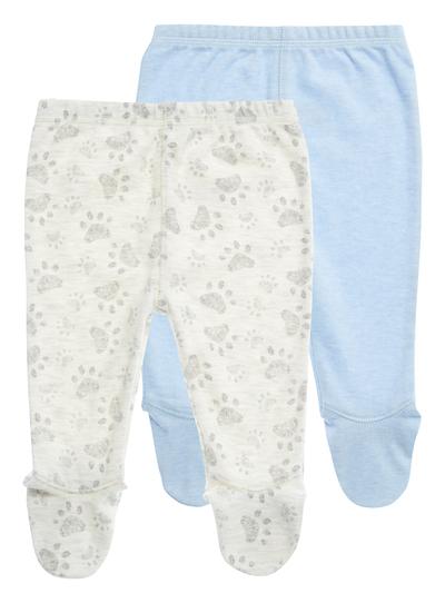 397b3e51e771c Baby Boys Oatmeal Paw Leggings 2 Pack (0-24 months) | Tu clothing
