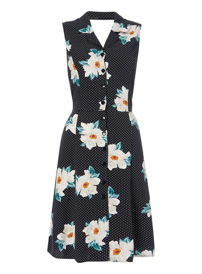 Monochrome Floral Tea Dress