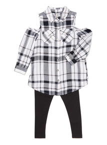 Black Check Cold Shoulder Shirt and Leggings Set (3-14 years)