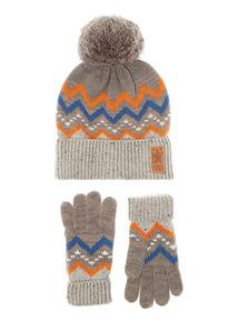 Grey Fairisle Hat and Glove Set (1-12 years)