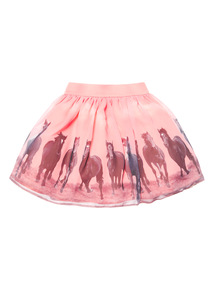 Pink Horse Border Skirt (3-14 years)
