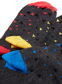 7 Pack Multicoloured Geometric Print Footbed Socks
