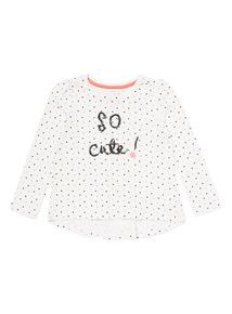 White So Cute Polka Dot Top (9 months-6 years)