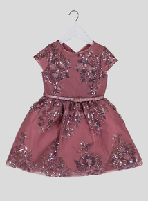 Pink Floral Sequin Dress (3-14 years)
