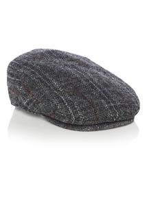 Grey Harris Tweed Flat Cap