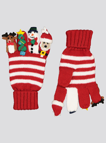 Christmas Multicoloured Finger Puppet Gloves (2-10 Years)