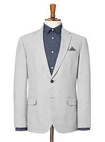 Light Grey Cotton and Linen Blend Suit Jacket