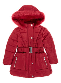Red Belted Parka Jacket (3-16 years)