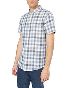 Blue Gingham Linen Shirt
