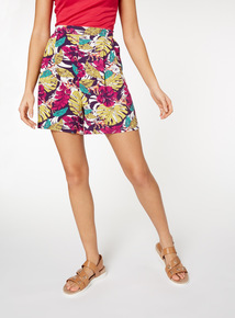 Multicoloured Leaf Print Culotte Shorts