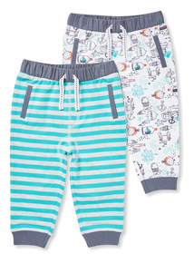 2 Pack Blue Stripe and Print Joggers (0-24 months)