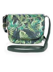 Multicoloured Tropical Leaf Printed Cross Body Bag