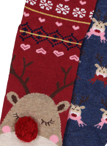 Christmas Reindeer Socks 2 Pack
