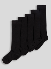 Black Knee High Star Socks 5 Pack