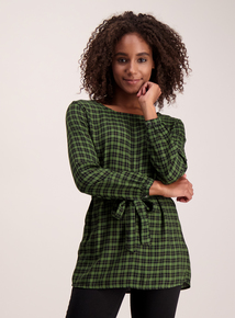 Green Check Tie Waist Blouse
