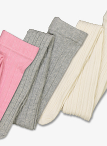 Multicoloured Cotton Rich Cable Tights 3 Pack (1-12 years)