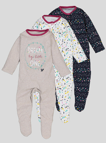 3 Pack Multicoloured Floral Print Sleepsuits (Newborn-24 months)