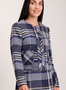 Multicoloured Check Boucle Zip Jacket