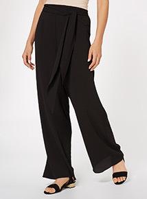 Black Plain Palazzo Trousers