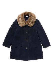 Navy Wool Look Coat (3-12 years)
