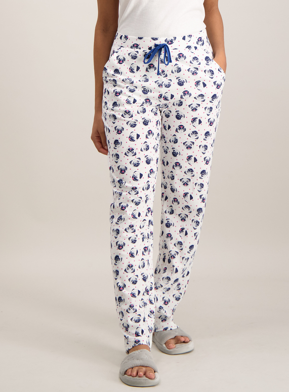 a6919917c3da Womens Cream Pug Print Pyjama Bottoms