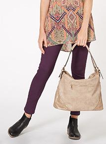 Natural Perforated Hobo Shoulder Bag