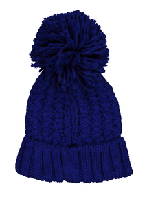 Cobalt Blue Knitted Pom Pom Hat