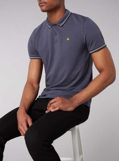 Admiral Grey Tipped Polo