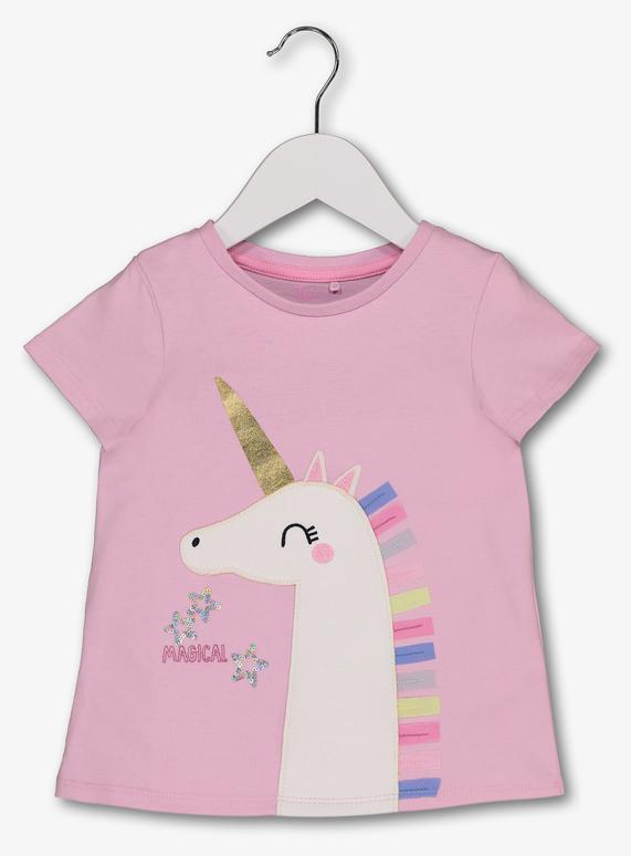 994eedd38 Kids Pink Unicorn Appliqué T-Shirt (9 months - 6 years) | Tu clothing