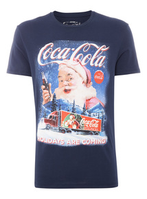 Navy Christmas Coca Cola Tee