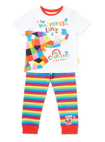 White Elmer Pyjama Set (9 months-5 years)