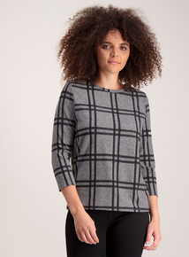Grey  Check Knit Look Top