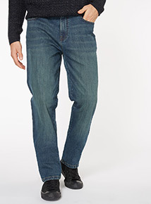Green Tint Wash Denim Straight Jeans
