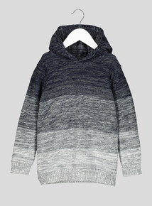 Navy to Grey Ombre Knitted Hooded Jumper (3- 14 Years)