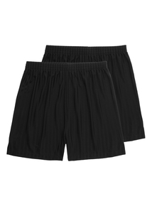 Boys Black Football Shorts 2 Pack (13-16 Years)