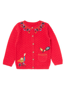 Red Embroidered Knitted Cardigan (0-24 months)