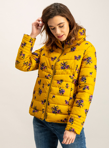 Mustard Floral Print Padded Jacket