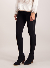 Black Piped Trim Ponte Leggings
