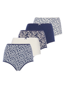 Blue Leaf Print Full Brief 5 Pack