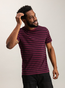 Burgundy & Black Stripe Crew Neck T-Shirt