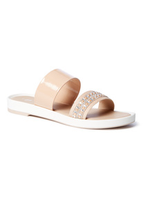 'Made In Italy' Nude Diamanté Detail Double Strap Sandals