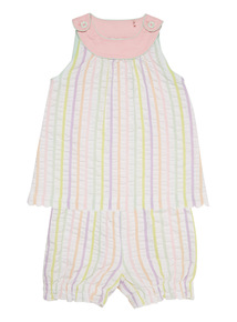 Multicoloured Striped Woven Top And Shorts Set (0 - 24 months)
